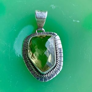Vintage green prasiolite and sterling pendant